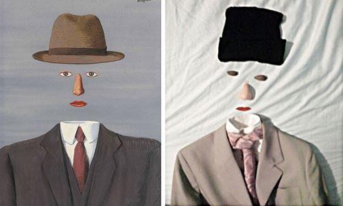"""Αναπαράσταση έργου του Renne Magritte """"Το τοπίο του Baucis"""""""