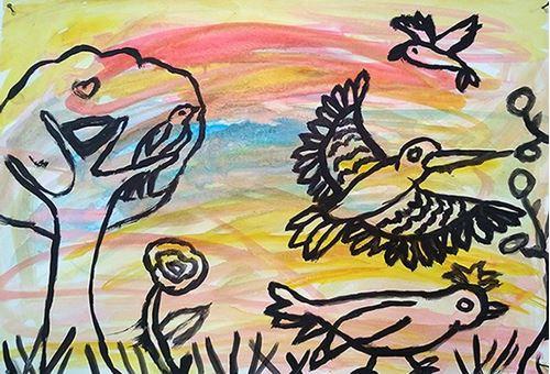 Πουλιά, άσκηση με πολύχρωμο φόντο και μαύρο σχέδιο