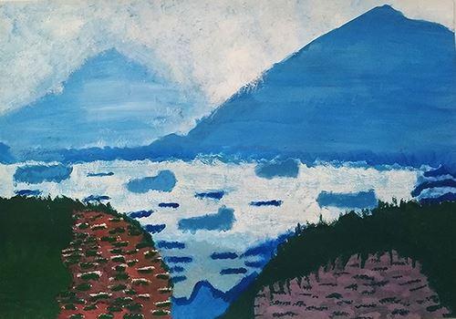 Τοπίο με θάλασσα και βουνά